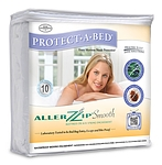 AllerZip Smooth Anti-Allergy & Bed Bug Proof Mattress or Box Spring Encasement Queen 6