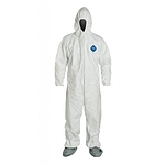 TYVEK Coverall,Hooded with Boots,X-Large