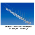 Masterline Stainless Steel Bird Spikes 50 ft L x 3 in W
